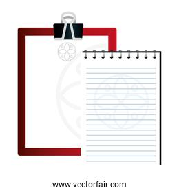 mockup clipboard red and notebook with sign, corporate identity
