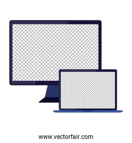 computer with laptop on white background