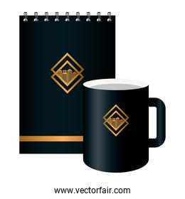 notebook and mug black mockup with golden sign, corporate identity