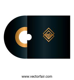 compact disc black mockup with golden sign, corporate identity