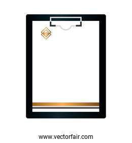 mockup clipboard black and document with golden sign, corporate identity