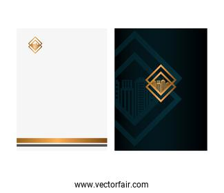 brochure black and document with golden sign, corporate identity