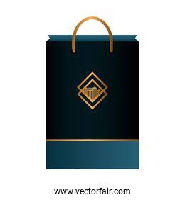 bag paper black mockup with golden sign, corporate identity