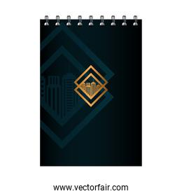 notebook black mockup with golden sign, corporate identity