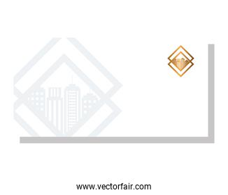 envelope white mockup with golden sign, corporate identity