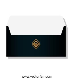 envelope black mockup with golden sign, corporate identity