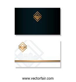 envelope black and white mockup with golden sign, corporate identity