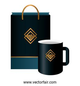 mug and bag paper black mockup with golden sign, corporate identity