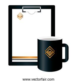 mockup clipboard and mug black with golden sign, corporate identity