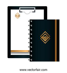 mockup clipboard black and document, notebook, with golden sign, corporate identity