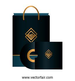 mockup compact disc and bag paper black color with golden sign, corporate identity