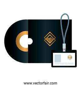 mockup compact disc and id badge black color, with golden sign, corporate identity