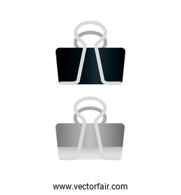 black and gray paper clips, on white background