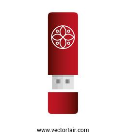 usb red color mockup with white sign, corporate identity