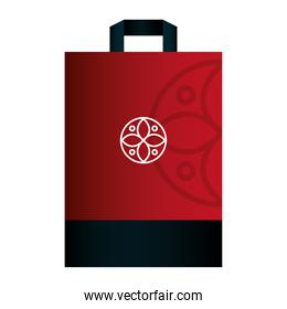 bag paper red color mockup with white sign, corporate identity