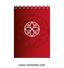 notebook red color mockup with white sign, corporate identity
