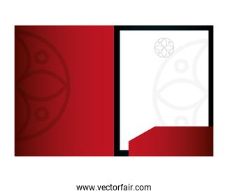 mockup brochure red color with white sign, corporate identity