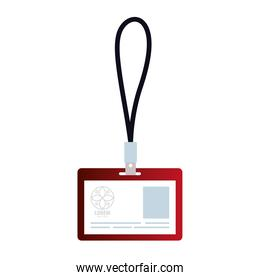 id badge red mockup with white sign, corporate identity