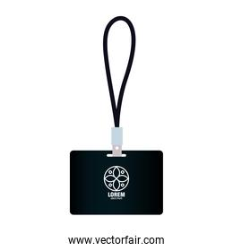 id badge black mockup with white sign, corporate identity