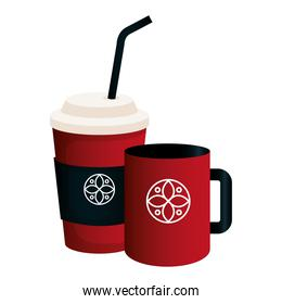 mockup disposable coffee and mug red color with white sign, corporate identity