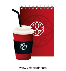 mockup disposable coffee and notebook red color with white sign, corporate identity