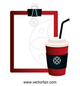 mockup disposable coffee and clipboard red color with white sign, corporate identity