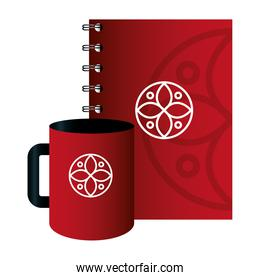 mockup notebook with mug red color with white sign, corporate identity