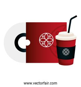 disposable coffee and cd red color mockup with white sign, corporate identity