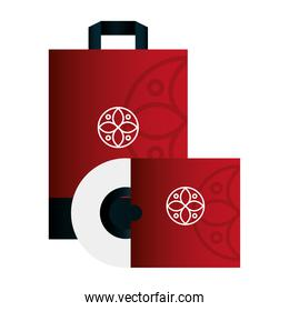 mockup compact disc with bag paper red color with white sign, corporate identity