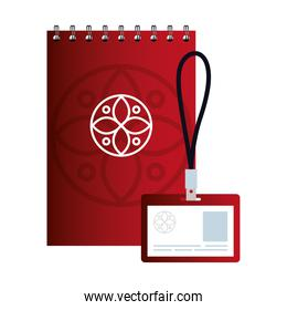 mockup id badge and notebook red color with white sign, corporate identity
