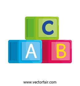 alphabet cubes with letters a, b, c, in white background