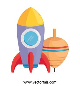 child toys, rocket and spinning toy on white background