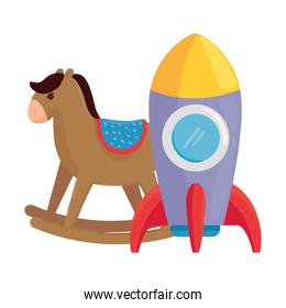 child toys, rocket with wooden rocking horse on white background