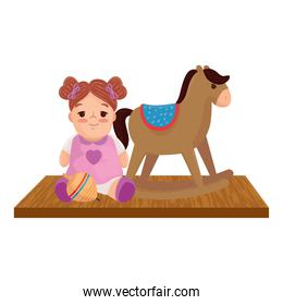 child toys, doll with wooden rocking horse, in white background