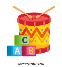child toys, alphabet cubes with drum in white background