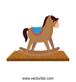 wooden rocking horse, children toy, on wooden table