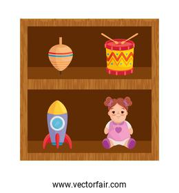 wooden shelving with toys child