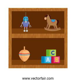 wooden shelving with set of toys