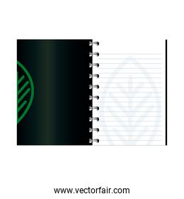 notebook open mockup with sign of green company, corporate identity