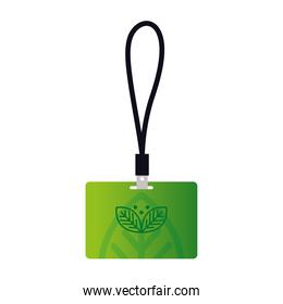id badge mockup with sign of green company, corporate identity