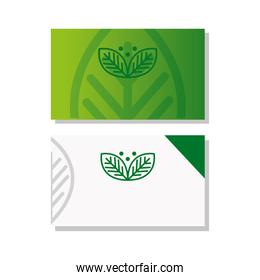 business cards mockup, with sign of green company, corporate identity