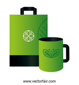 mockup mug and paper bag with sign of green company, corporate identity