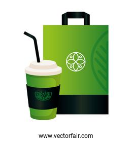 mockup disposable coffee and bag paper with sign of green company, corporate identity