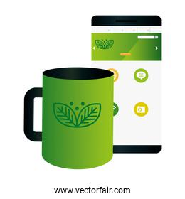 mockup mug and smartphone with sign of green company, corporate identity