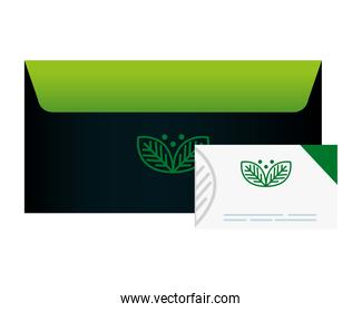 mockup envelope and business card, with sign of green company, corporate identity
