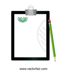 mockup clipboard and pencil with sign of green company, corporate identity