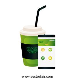 mockup disposable coffee and smartphone with sign of green company, corporate identity