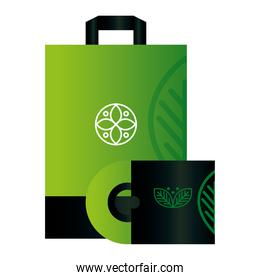 mockup compact disc and bag paper with sign of green company, corporate identity