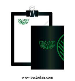 mockup clipboard and brochure with sign of green company, corporate identity