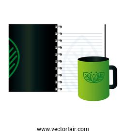 mockup mug and notebook with sign of green company, corporate identity